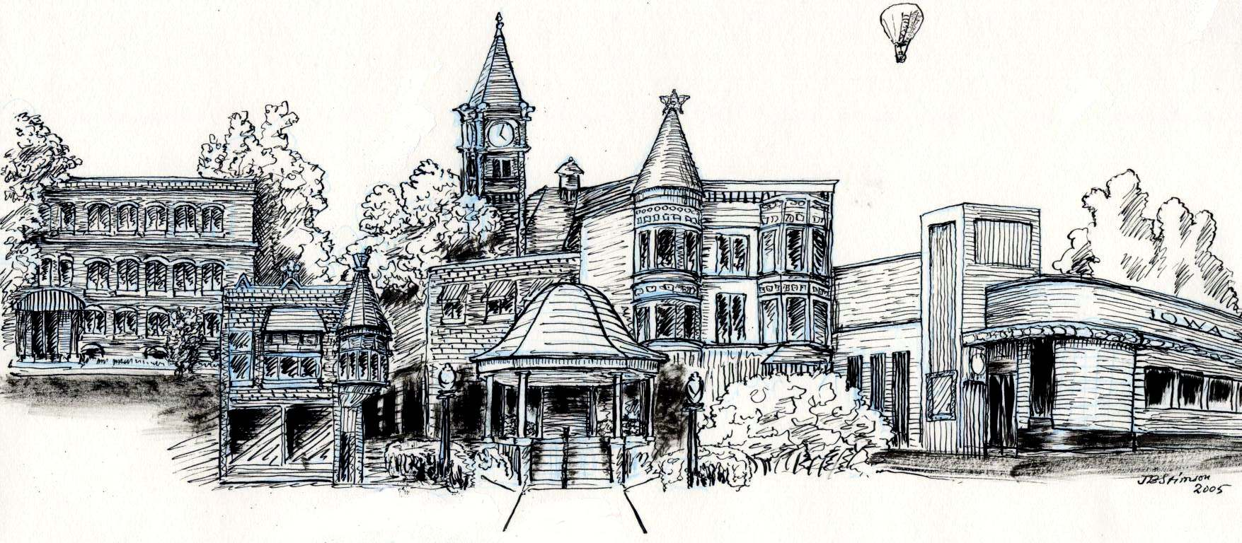 John Stimson's drawing of the Square in Fairfield, Iowa